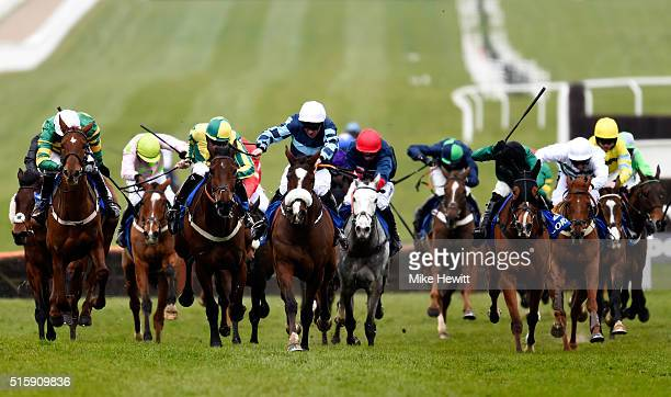 Diamond King ridden by Davy Russell on way to winning the Coral Cup during Ladies Day of the Cheltenham Festival at Cheltenham Racecourse on March 16...