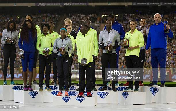 Diamond League winners pose with their trophies during the AG Insurance Memorial Van Damme IAAF Diamond League meeting at King Baoudoin stadium of...