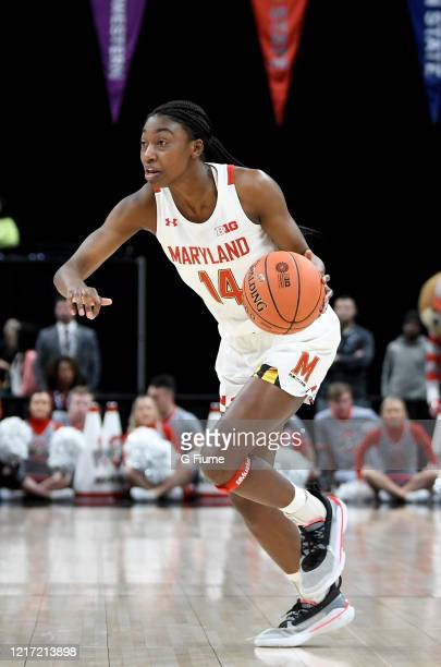 Diamond Miller of the Maryland Terrapins handles the ball against the Ohio State Buckeyes during the Championship game of Big Ten Women's Basketball...