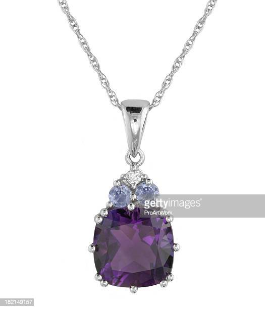 diamond & multi stone pendant - necklace stock pictures, royalty-free photos & images