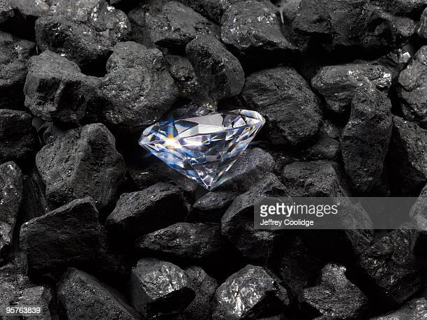 diamond on coal - diamond stock pictures, royalty-free photos & images