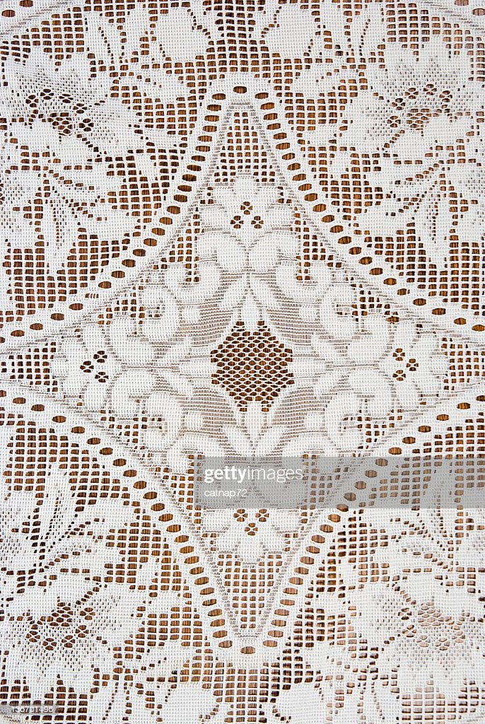Diamond Pattern in Lace with Flowers, Detail, Design Element : Stock Photo