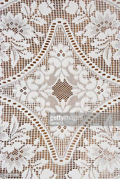 diamond pattern in lace with flowers, detail, design element - frilly stock photos and pictures