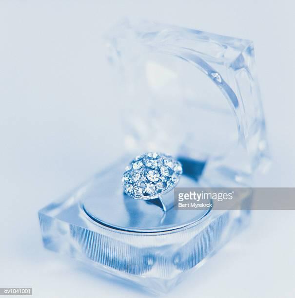 Diamond Ring in a Glass Jewellery Box