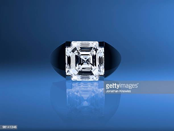 Diamond ring on a blue background
