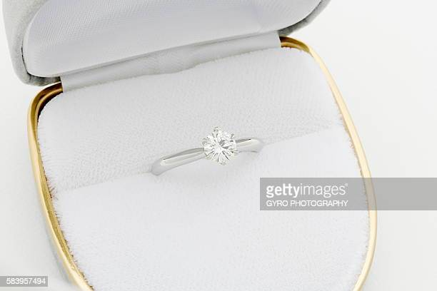 diamond ring - engagement ring box stock photos and pictures