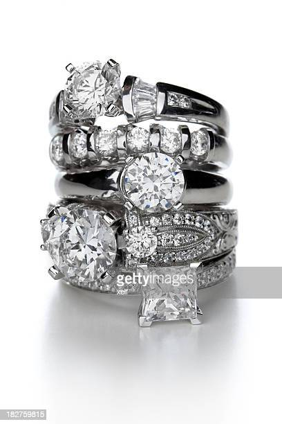 diamond rings - diamond gemstone stock pictures, royalty-free photos & images