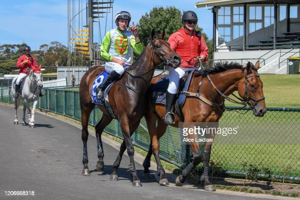 Diamond Star Halo ridden by Shane Jackson returns to scale after winning the Chirnside Plumbing Gasfitting Maiden Hurdle at Warrnambool Racecourse on...