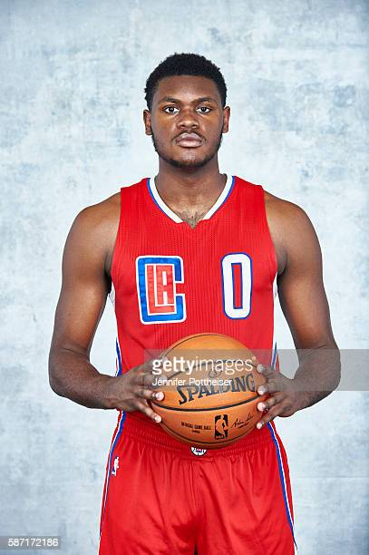 Diamond Stone of the Los Angeles Clippers poses for a portrait during the 2016 NBA rookie photo shoot on August 7 2016 at the Madison Square Garden...