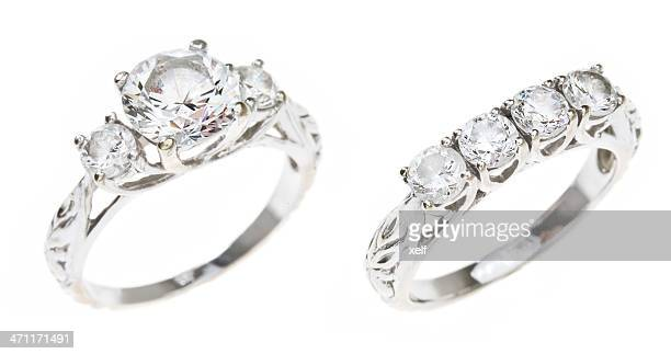 diamond wedding set - white gold stock pictures, royalty-free photos & images