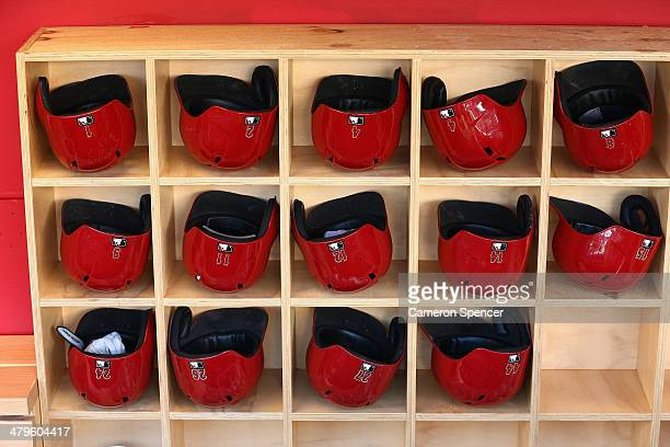 Diamondback players helmets are seen in their dugout during an Arizona Diamondbacks MLB training session at Sydney Cricket Ground on March 20 2014 in...