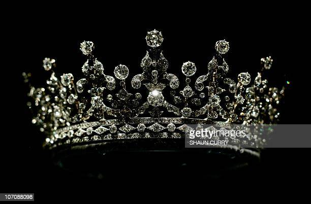 A diamonds and silver tiara given to Britain's Queen Elizabeth II on her wedding day 20 November 1947 by Queen Mary is displayed 27 July 2007 in...