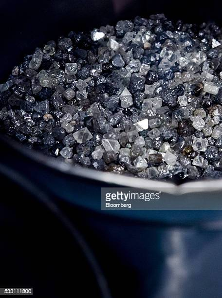 Diamonds are collected in a bucket at the end stage of processing at the Diavik Diamond Mine facility owned by Rio Tinto Plc and Dominion Diamond...