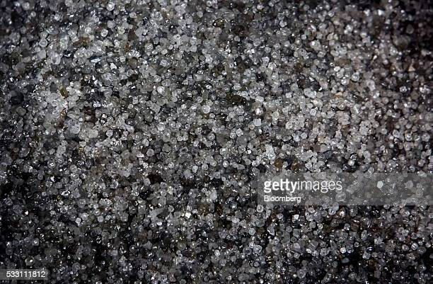 Diamonds are seen at the end stage of processing at the Diavik Diamond Mine facility owned by Rio Tinto Plc and Dominion Diamond Corp in the North...
