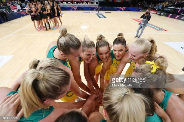 Diamonds players huddle after victory in the 2017 Constellation Cup match between the Australian Diamonds and the New Zealand Silver Ferns at Qudos...
