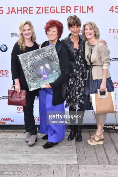 Diana Amft Regina Ziegler Tanja Ziegler and Valerie Niehaus during the 45th anniversary celebration of Ziegler Film at Tipi am Kanzleramt on April 27...