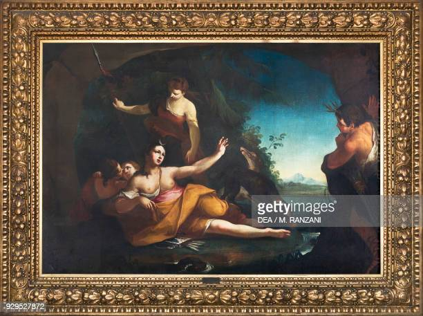 Diana and Actaeon 17th century by Carlo Cignani oil on canvas Sala Brasera ground floor Palazzo Spinola Milan Lombardy Italy