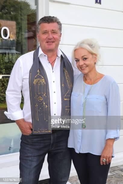 Diana Apitz and her husband Bruno F Apitz during the Bruno F Apitz exhibition opening on July 17 2020 in Hamburg Germany