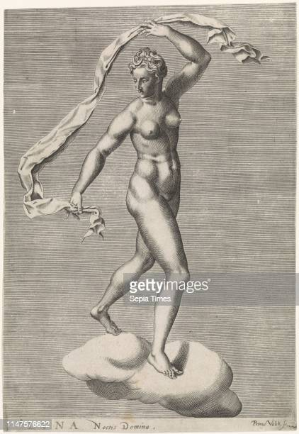 Diana as the moon goddess Luna on a cloud, the moon on the forehead, from a series of prints with planets, print maker: Pieter Valck , Dating 1575