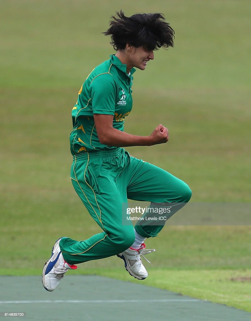 Diana Baig of pakistan celebrates bowling Nipuni Hansika of Sri Lanka during the ICC Women's World Cup 2017 match between Pakistan and Sri Lanka at Grace Road on July 15, 2017 in Leicester, England.