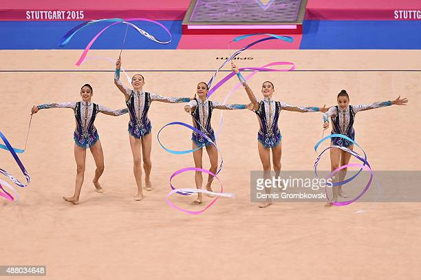 Diana Borisova Anastasiia Maksimova Sofya Skomorokh Anastasiia Tatareva and Maria Tolkacheva of Russia compete in the Group Apparatus Finals on Day 7...