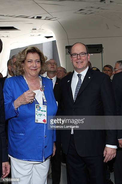 Diana Bracco and Prince Albert II Of Monaco visit the Italian Pavilion at Expo 2015 on June 9 2015 in Milan Italy
