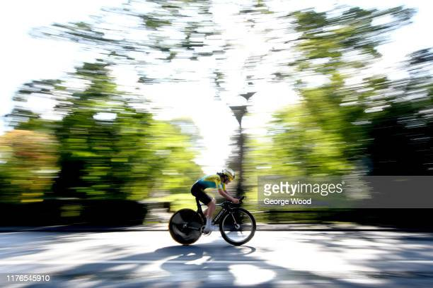 Diana Bukanova of Kazakstan in action during the 92nd UCI Road World Championships 2019 Individual Time Trial Women Junior a 137km stage from...