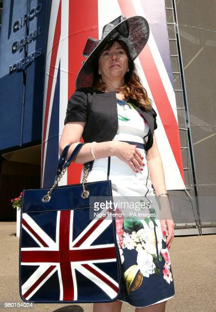 Diana Canon with a Union Jack bag on day three of Royal Ascot at Ascot Racecourse.