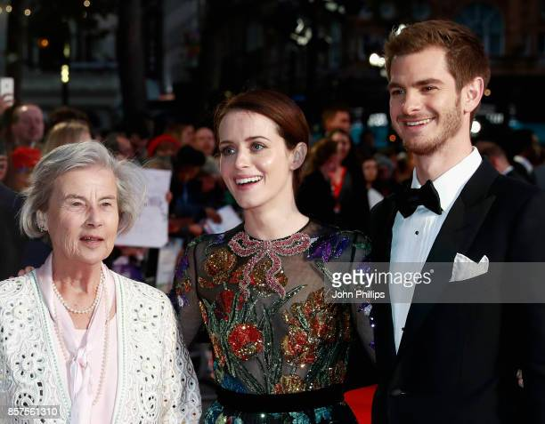 """Diana Cavendish, actors Claire Foy and Andrew Garfield attend the European Premiere of """"Breathe"""" on the opening night gala of the 61st BFI London..."""