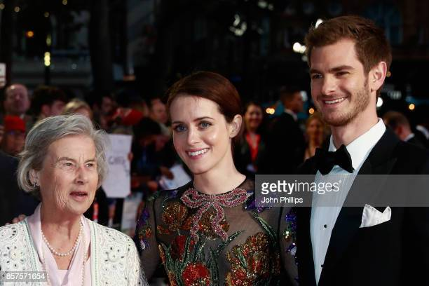 """Diana Cavendish, actress Claire Foy and actor Andrew Garfield attend the European Premiere of """"Breathe"""" on the opening night gala of the 61st BFI..."""