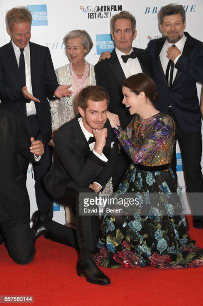Diana Cavendish Andrew Garfield Tom Hollander Claire Foy and Andy Serkis attend the European Premiere of 'Breathe' during the opening night gala of...