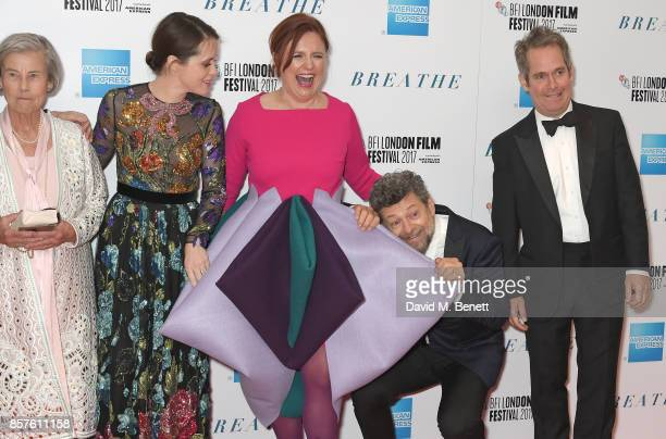 """Diana Cavendish, Claire Foy, Clare Stewart, Andy Serkis and Tom Hollander attend the European Premiere of """"Breathe"""" during the opening night gala of..."""