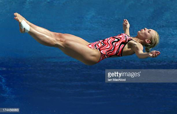 Diana Chaplieva of Russia competes in the Preliminary Round of The Women's 3m Springboard at The Piscina Municipal De Montjuic on day seven of the...
