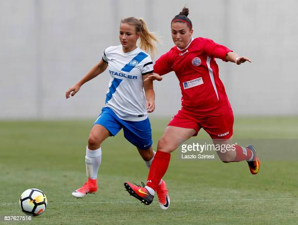 Diana Csanyi of MTK Hungaria FC duels for the ball with Blerina Musa of WFC Hajvalia during the UEFA Women's Champions League Qualifying match...