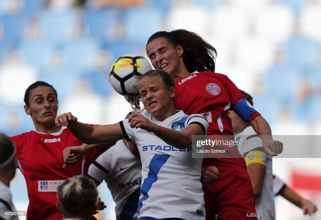 Diana Csanyi (L2) of MTK Hungaria FC, Feride Kastrati (L) of WFC Hajvalia and Zelfie Bajramaj (R) of WFC Hajvalia in action during the UEFA Women's Champions League Qualifying match between MTK Hungaria FC and WFC Hajvalia at Nandor Hidegkuti Stadium on August 22, 2017 in Budapest, Hungary.