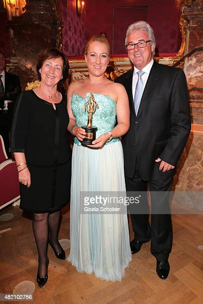 Diana Damrau and her mother Sybille Damrau and her father Rainer Damrau during the 'Die Goldene Deutschland' Gala on July 26 2015 at Cuvillies...
