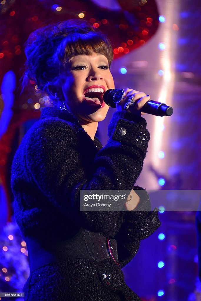 Diana DeGarmo performs at the 2012 Hollywood Christmas Parade Concert at Universal CityWalk on November 20, 2012 in Universal City, California.