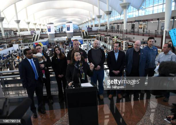 Diana DeGette with other democrat dignitaries and federal workers and family members discuss the partial government shutdown during a press...
