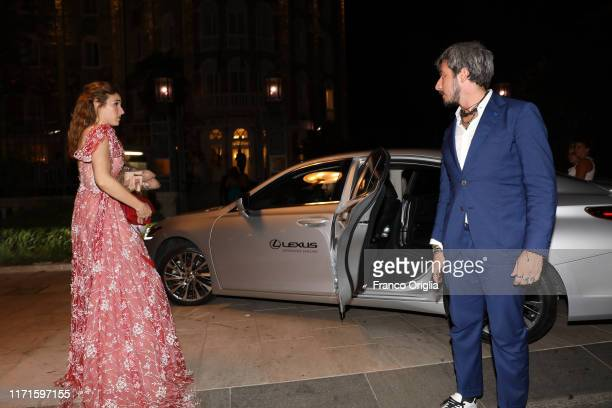 Diana Del Bufalo and Paolo Ruffini attend the Filming In Italy After Party Arrivals on a Lexus car during the 76th Venice Film Festival at Hotel...