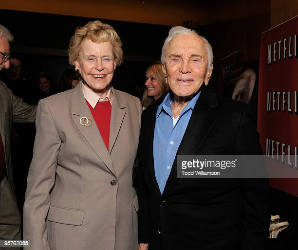 Diana Dill and Kirk Douglas at a screening of Before I Forget by Motion Picture Television Fund and Netflix at Writer's Guild Theater on January 13...