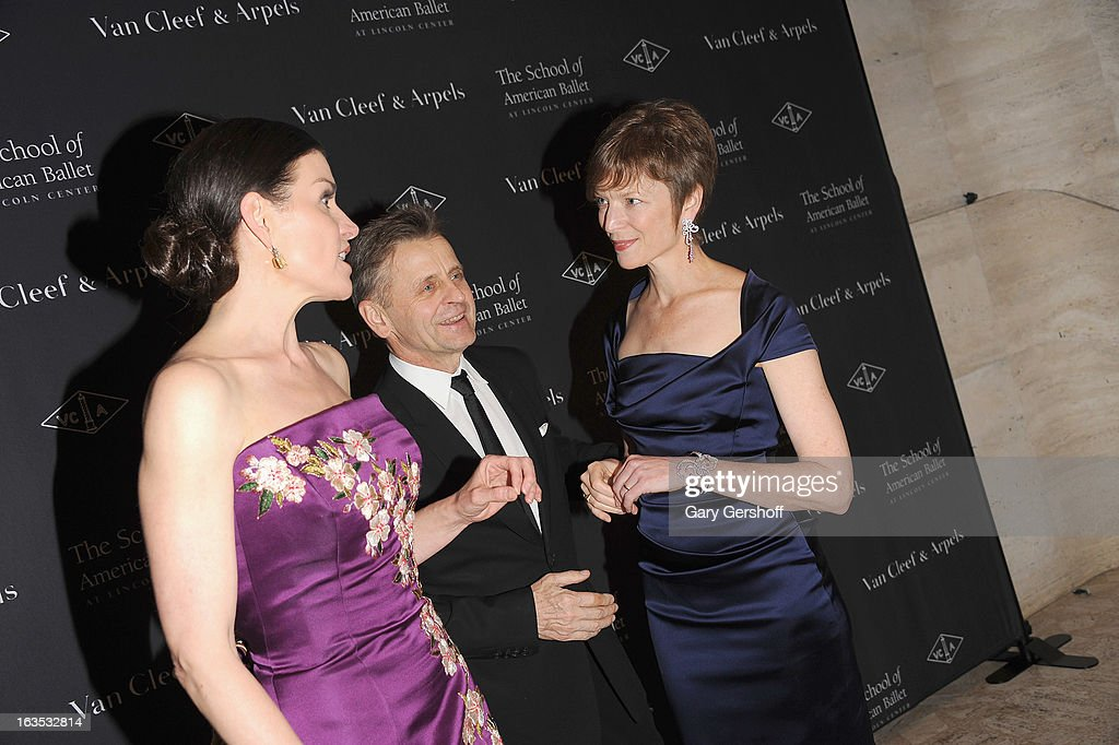 Diana DiMenna, Mikhail Baryshnikov and Lisa Rinehart attend the 2013 School Of American Ballet Winter Ball: A Night In The Far East at David H. Koch Theater, Lincoln Center on March 11, 2013 in New York City.
