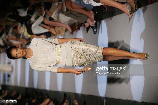 Diana Dondoe wearing Badgley Mischka Spring 2006 during Olympus Fashion Week Spring 2006 Badgley Mischka Runway at 261 Eleventh Avenue in New York...