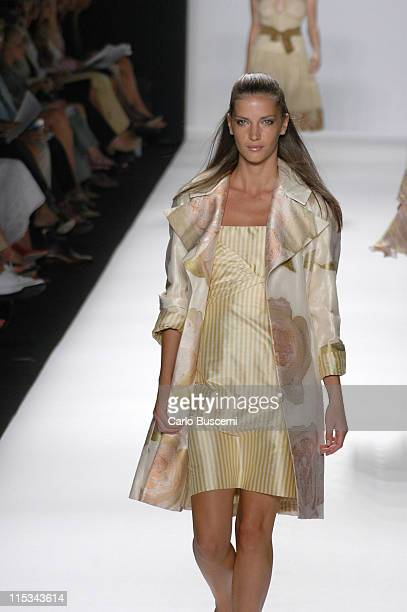 Diana Dondoe wearing Bill Blass Spring 2006 during Olympus Fashion Week Spring 2006 Bill Blass Runway at Bryant Park in New York City New York United...