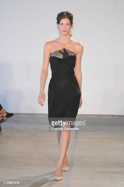 Diana Dondoe wearing Roland Mouret Spring 2005 during Olympus Fashion Week Spring 2005 Roland Mouret Runway at West 49th Street in New York City New...