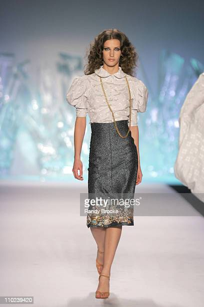 Diana Dondoe wearing Zac Posen Fall 2005 during Olympus Fashion Week Fall 2005 Zac Posen Runway at The Tent Bryant Park in New York City New York...