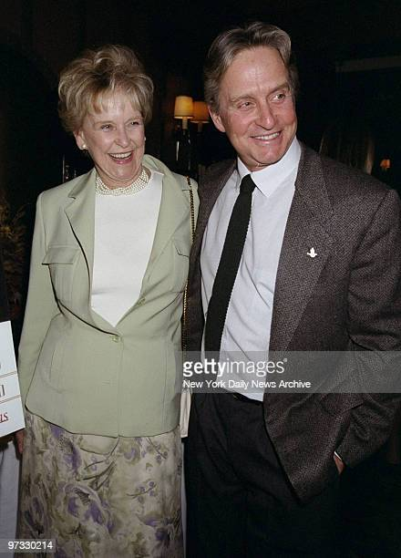 Diana Douglas Darrid and her son Michael Douglas attending book party for Darrid's In The Wings A Memoir at Sardi's