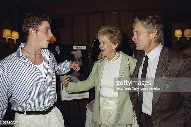 Diana Douglas Darrid with her grandson Cameron Douglas and her son Michael Douglas attending book party for Darrid's In The Wings A Memoir at Sardi's