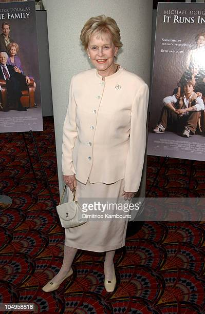 """Diana Douglas during """"It Runs In the Family"""" New York Premiere - Inside Arrivals at Loews Lincoln Square in New York City, New York, United States."""