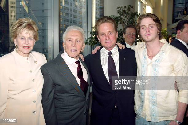 "Diana Douglas, Kirk Douglas, Michael Douglas and Cameron Douglas arrive at the New York premiere of ""It Runs In The Family"" at the Loews Lincoln..."