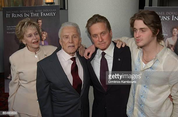 Diana Douglas, Kirk Douglas, Michael Douglas and Cameron Douglas